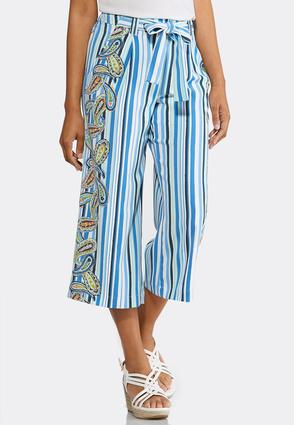 Cropped Striped Paisley Pants | Tuggl