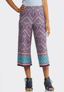 Mixed Chevron Cropped Palazzo Pants
