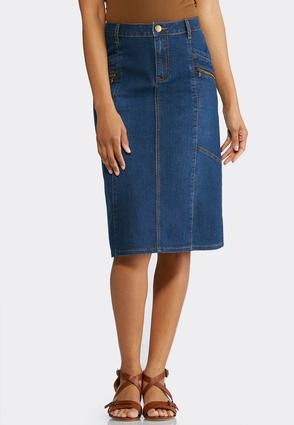Plus Size Zippered Denim Skirt | Tuggl
