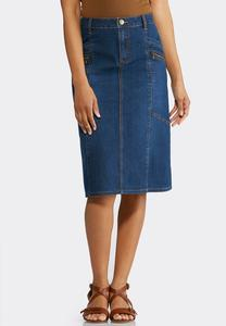Plus Size Zippered Denim Skirt