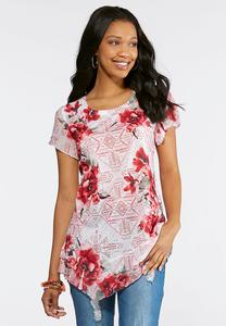 Asymmetrical Embellished Rose Top