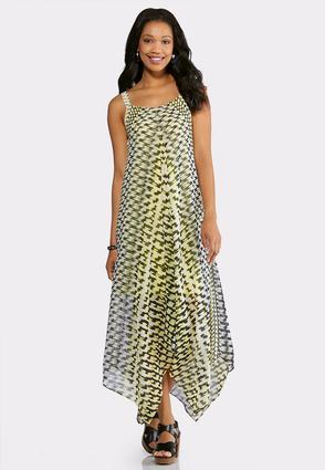 Yellow Hanky Hem Maxi Dress | Tuggl