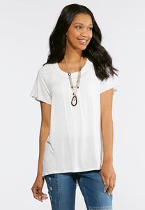 Pleated Scoop Neck Top