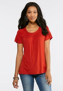 Plus Size Pleated Scoop Neck Top