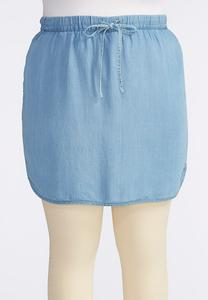Plus Size Chambray Drawstring Skort