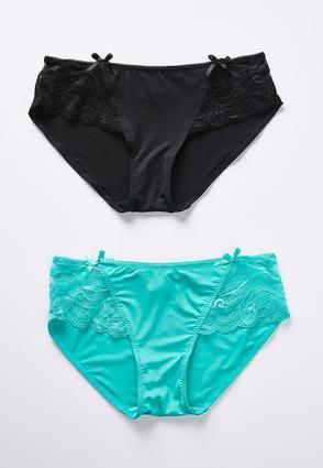 Plus Size Black Green Lace Side Panty Set | Tuggl