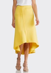 Plus Size Yellow High-Low Scuba Skirt