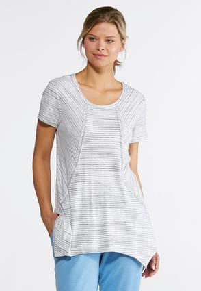 Plus Size Gray Striped Tunic | Tuggl