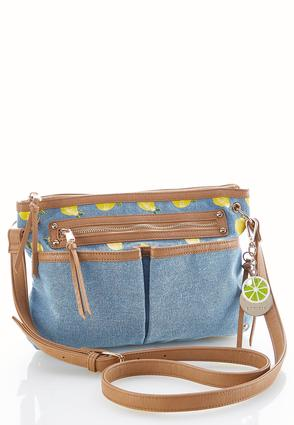 Lemon Print Denim Crossbody | Tuggl