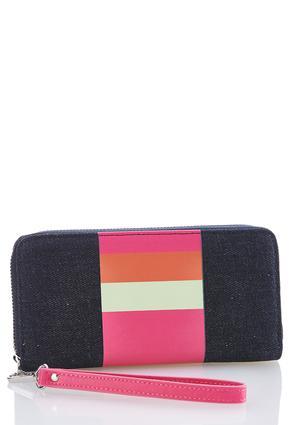 Bright Stripe Denim Wallet | Tuggl