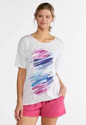Plus Size Brushed Multicolored Striped Tunic | Tuggl