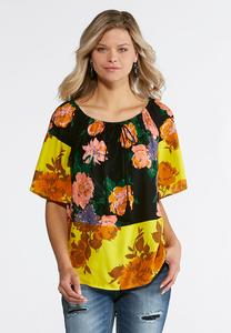 Floral Colorblock Poet Top