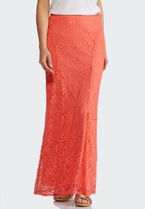 Plus Size Lace Maxi Skirt