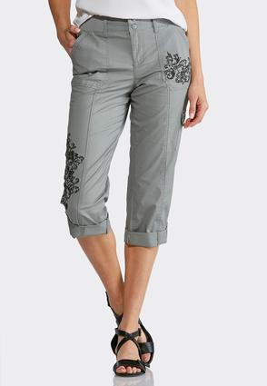 Cropped Tonal Embroidered Cargo Pants