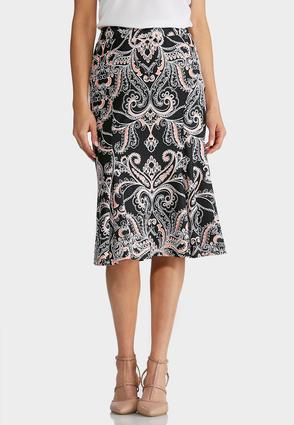 Plus Size Puff Paisley Print Midi Skirt at Cato in New York, NY | Tuggl