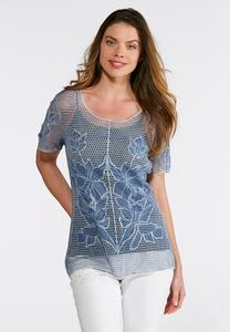 Natural Faded Wash Floral Crochet Top