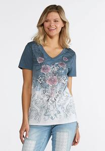 Plus Size Rose And Cross Dip Dye Shirt