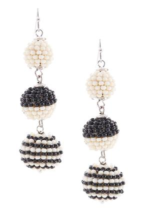 Two- Toned Bead Wrapped Ball Earrings