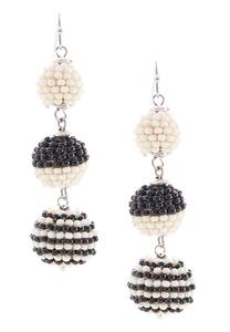 Two-Toned Bead Wrapped Ball Earrings
