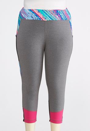 Plus Size Cropped Multicolored Leggings | Tuggl