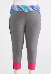 Plus Size Cropped Multicolored Leggings