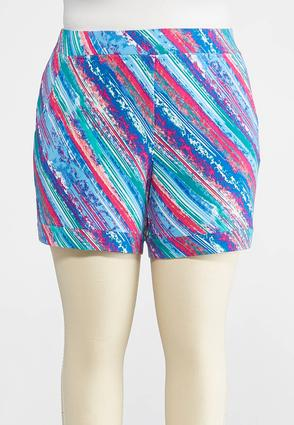Plus Size Brushed Multicolored Athleisure Shorts