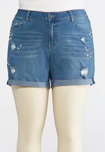 Plus Size Distressed Pearl Denim Shorts