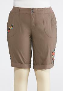 Plus Size Embroidered Bermuda Shorts