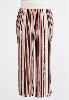 Plus Size Brushed Stripe Palazzo Pants | Tuggl