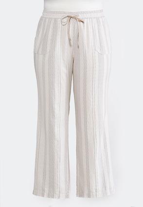 Plus Size Geo Striped Linen Pants | Tuggl