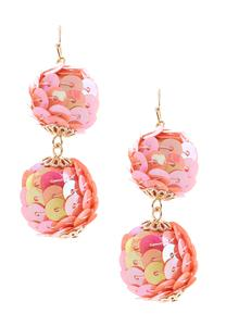 Tiered Sequin Ball Earrings