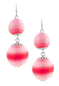 Two-Toned Thread Wrap Ball Earrings