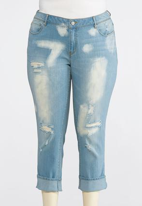 Plus Size Distressed Crop Jeans | Tuggl