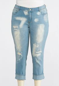 Plus Size Distressed Crop Jeans