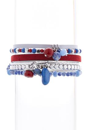 Mixed Bead Americana Bangle Set