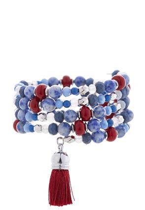 Beaded Coil Bracelet With Tassel | Tuggl