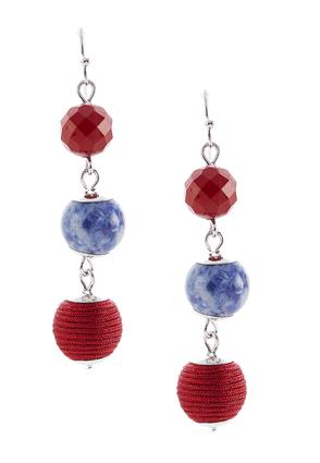 Semi Thread Beaded Linear Earrings | Tuggl