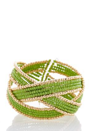 Criss Cross Seed Bead Cuff Bracelet | Tuggl