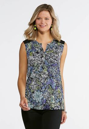 Plus Size Multi Color Printed Popover Lace Tank at Cato in Brooklyn, NY | Tuggl
