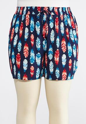 Plus Size Feather Print Tie Front Shorts | Tuggl