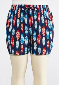 Plus Size Feather Print Tie Front Shorts