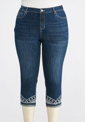 Plus Size Cropped Turn- Up Hem Jeans