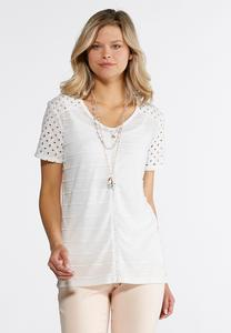 White Embellished Striped Eyelet Top