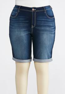 Plus Size Dark Wash Bermuda Shorts