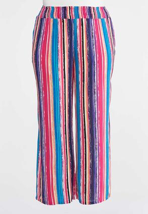 Plus Size Striped Gauze Palazzo Pants | Tuggl