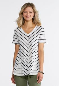 Mitered Stripe Lace Inset Tee