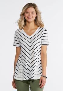 Plus Size Mitered Stripe Lace Inset Tee