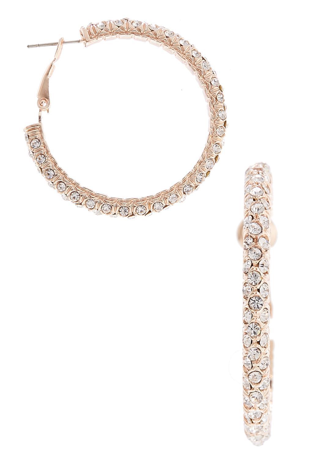 Rose Gold Rhinestone Hoop Earrings