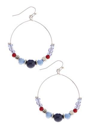 Multi Color Beaded Dangle Hoop Earring | Tuggl