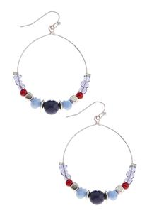 Multi Color Beaded Dangle Hoop Earring